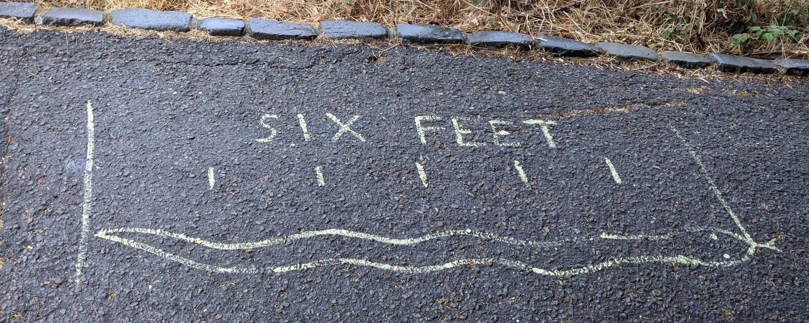 sidewalk art: Six Feet; measurement marks; snake (which has zero feet actually)