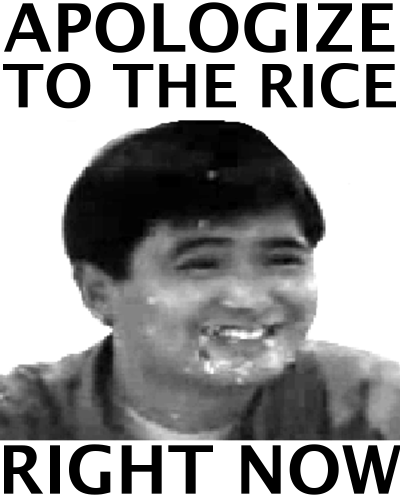 APOLOGIZE TO THE RICE RIGHT NOW